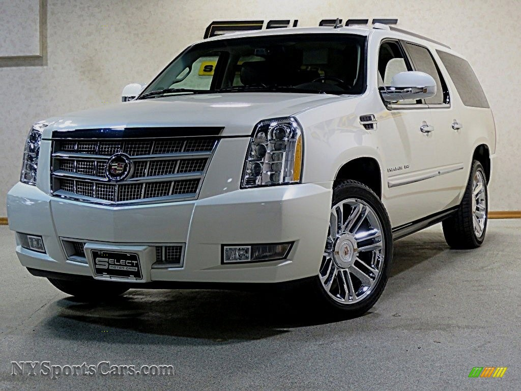 White Diamond Tricoat / Cocoa/Light Linen Tehama Leather Cadillac Escalade ESV Platinum AWD