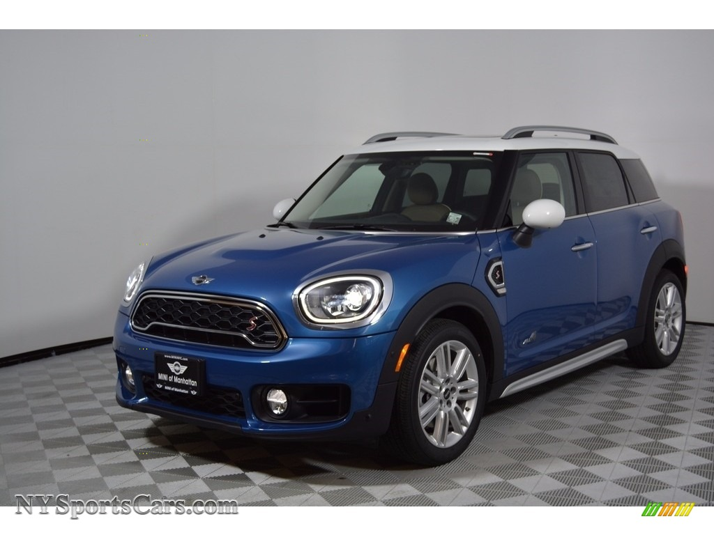2017 Countryman Cooper S ALL4 - Island Blue Metallic / Chesterfield/British Oak photo #1