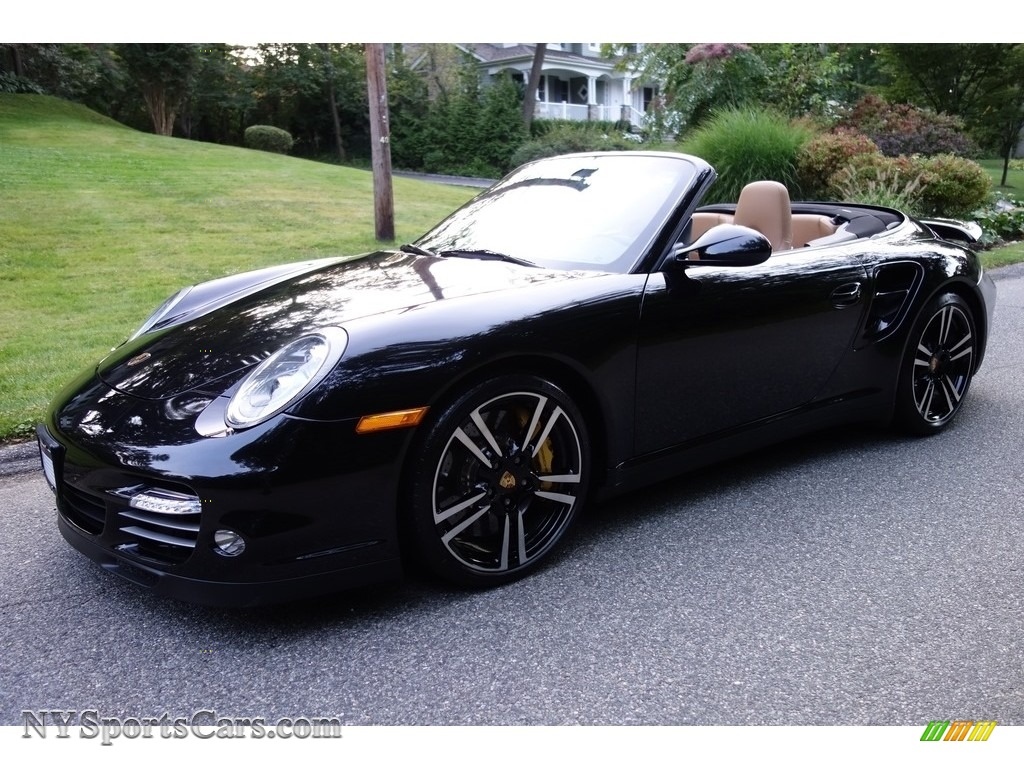 2011 911 Turbo S Cabriolet - Basalt Black Metallic / Black/Sand Beige photo #1