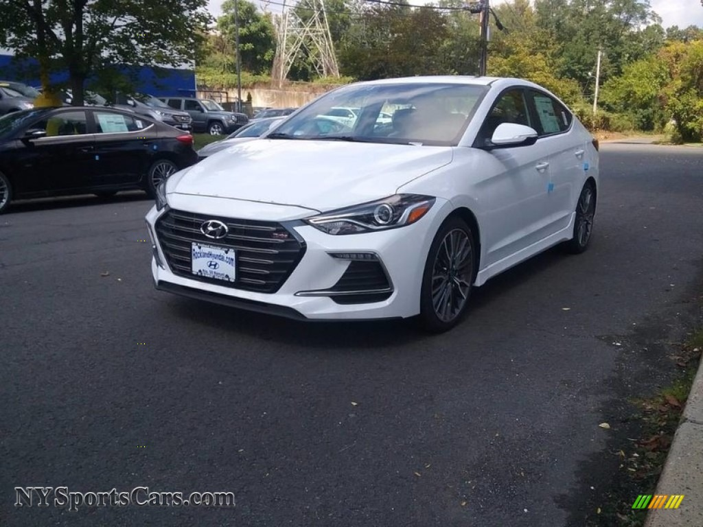 2018 Elantra Sport - Quartz White Pearl / Black photo #1