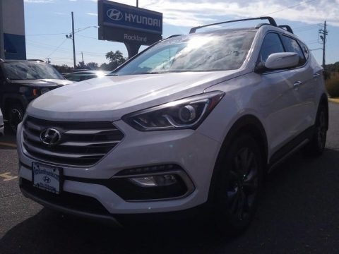 Pearl White 2018 Hyundai Santa Fe Sport 2.0T AWD