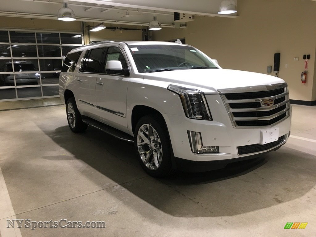 Crystal White Tricoat / Kona Brown/Jet Black Cadillac Escalade ESV Luxury 4WD