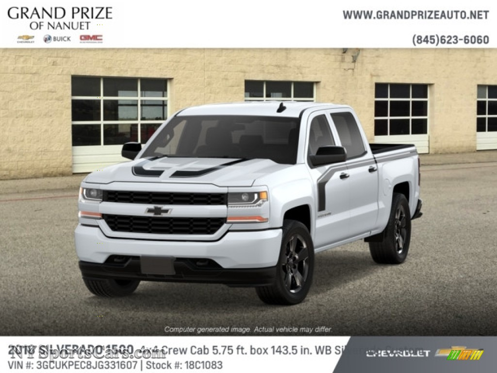 2018 Silverado 1500 Custom Crew Cab 4x4 - Summit White / Dark Ash/Jet Black photo #1