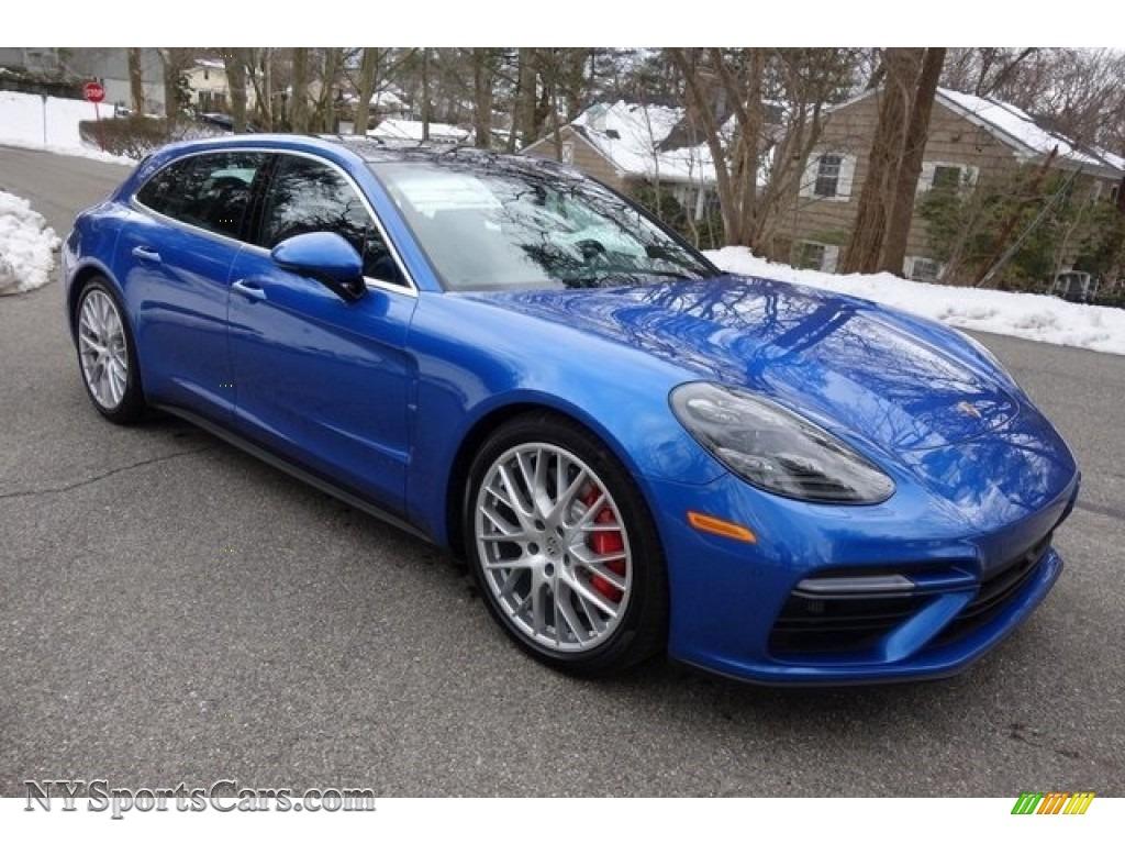 Sapphire Blue Metallic / Black Porsche Panamera Turbo Sport Turismo