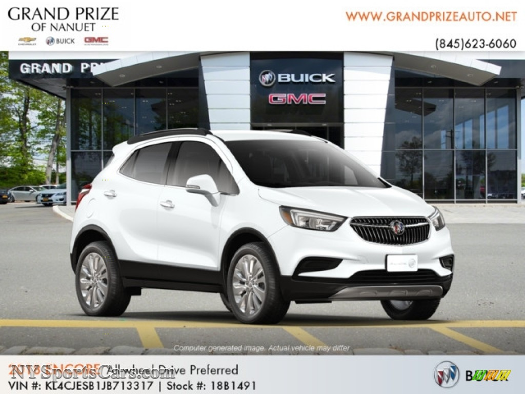 2018 Encore Preferred AWD - Summit White / Ebony photo #4