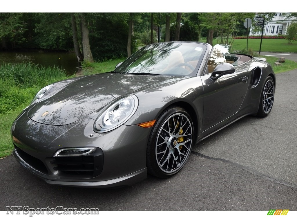 Agate Grey Metallic / Espresso/Cognac Natural Leather Porsche 911 Turbo S Cabriolet
