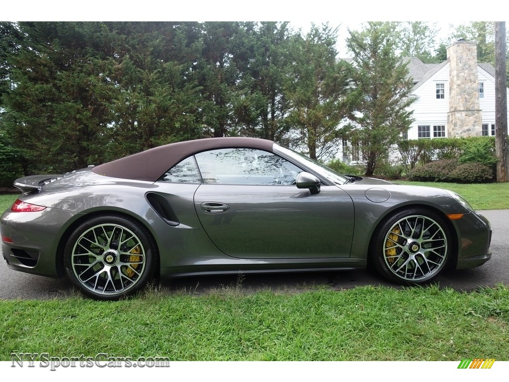 2015 911 Turbo S Cabriolet - Agate Grey Metallic / Espresso/Cognac Natural Leather photo #7