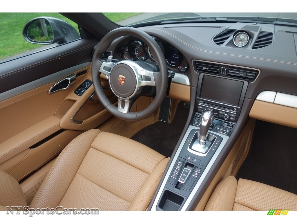 2015 911 Turbo S Cabriolet - Agate Grey Metallic / Espresso/Cognac Natural Leather photo #13