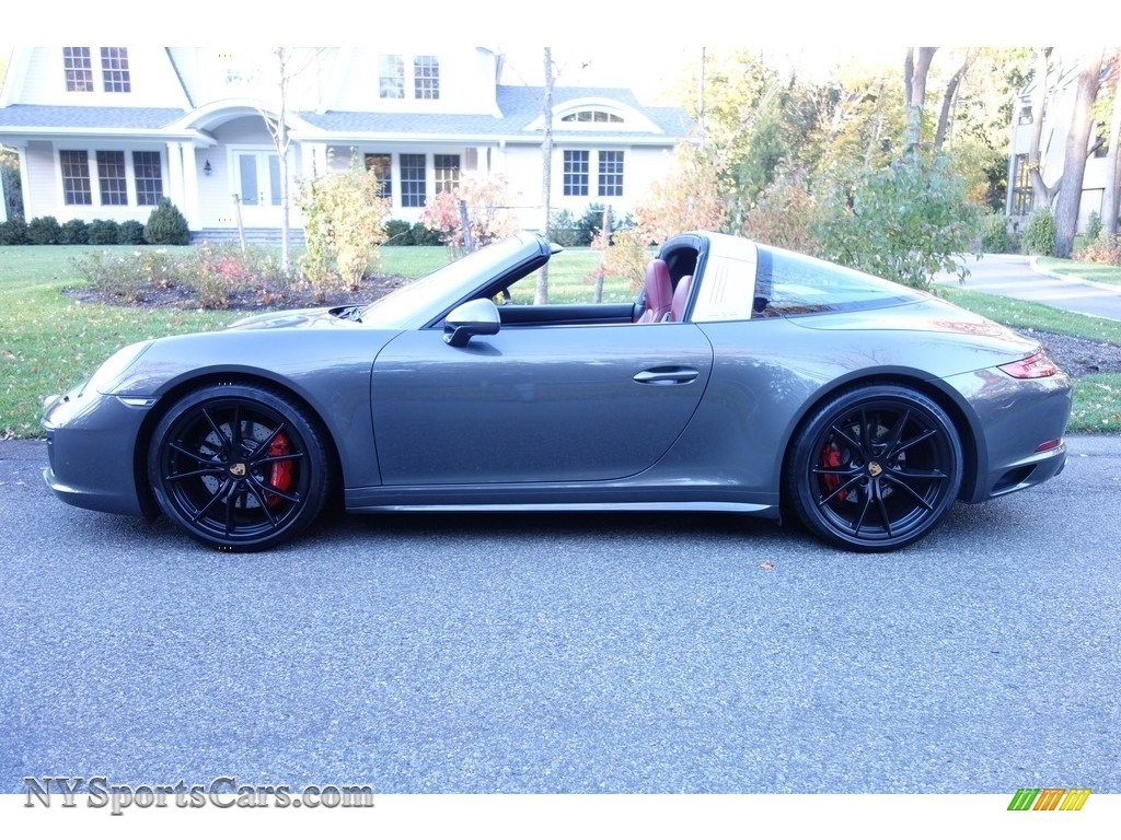 2017 911 Targa 4S - Agate Grey Metallic / Black/Bordeaux Red photo #3