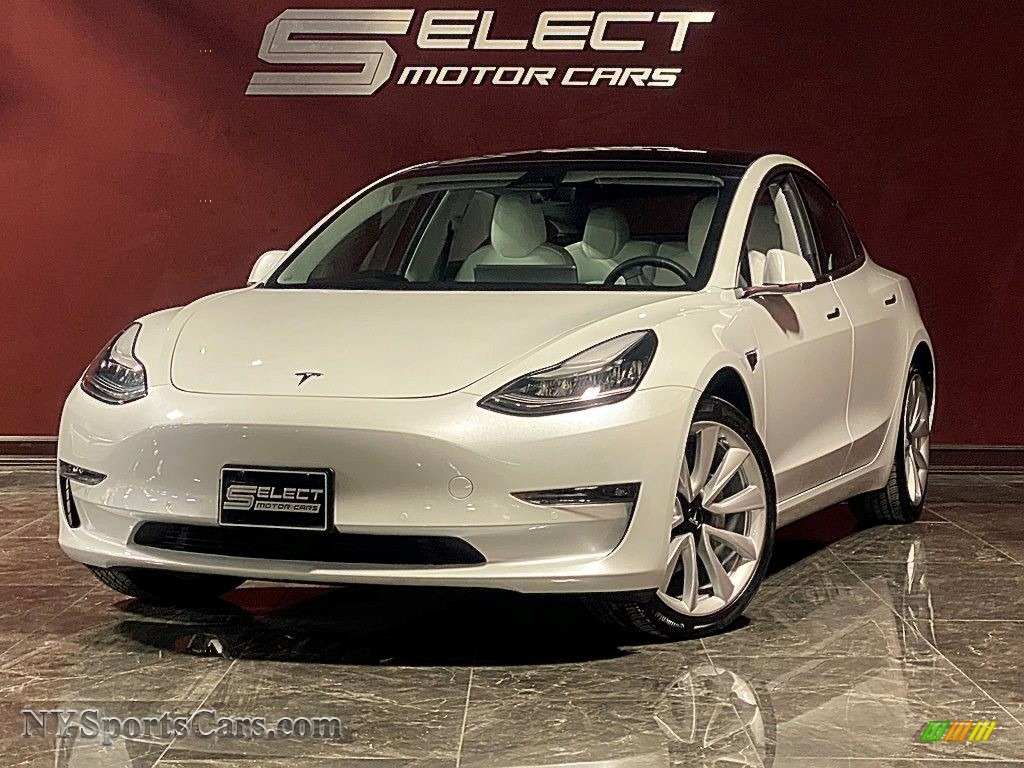 2019 Model 3 Long Range - Pearl White Multi-Coat / Black and White photo #1