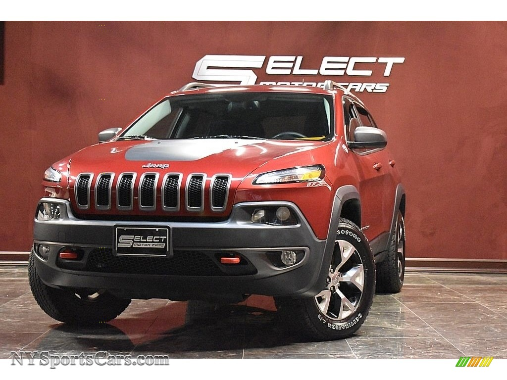2015 Cherokee Trailhawk 4x4 - Deep Cherry Red Crystal Pearl / Trailhawk Black photo #1