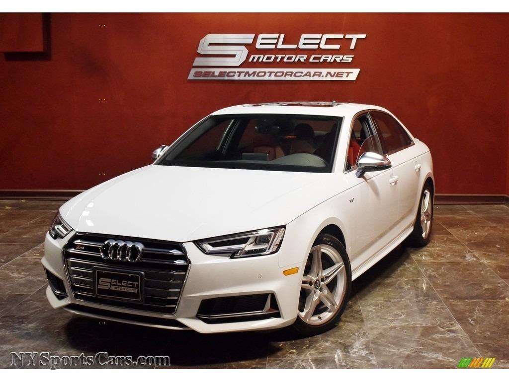 2018 S4 Premium Plus quattro Sedan - Glacier White Metallic / Magma Red photo #1