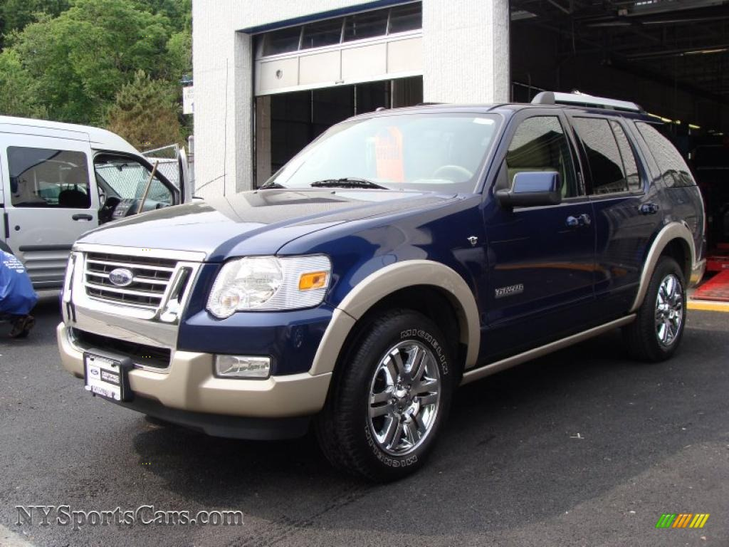 Dark blue pearl metallic camel ford explorer eddie bauer 4x4