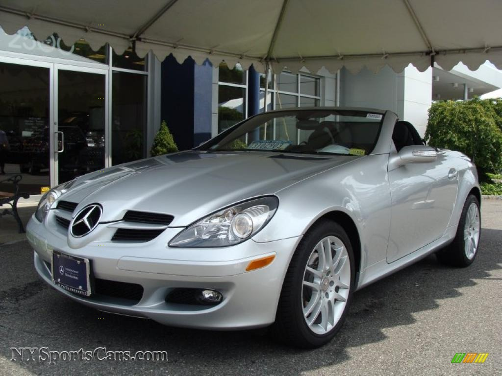 2007 slk 280 roadster iridium silver metallic black photo 1