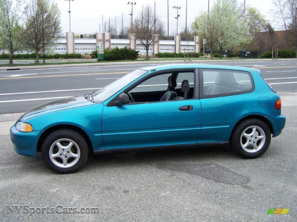 1992 Civic VX Hatchback   Tahitian Green Pearl / Gray Photo #3