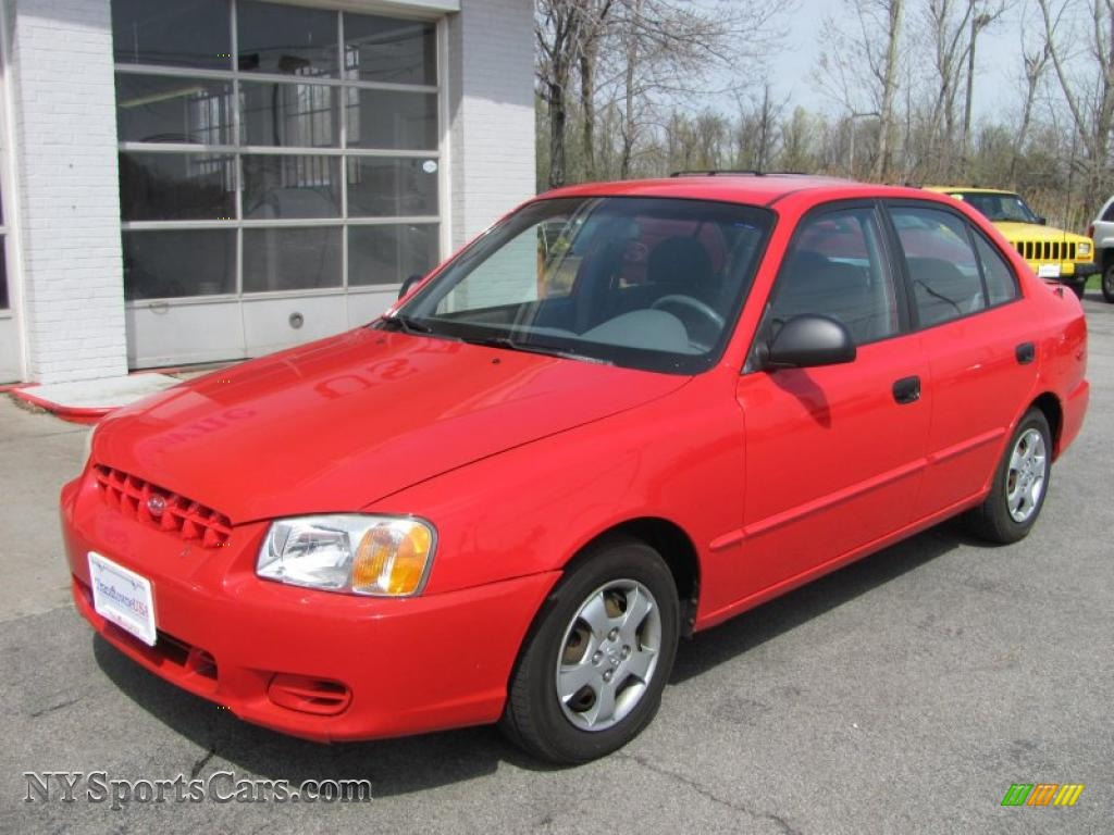 2002 hyundai accent gl sedan in retro red 382965 nysportscars com cars for sale in new york nysportscars com