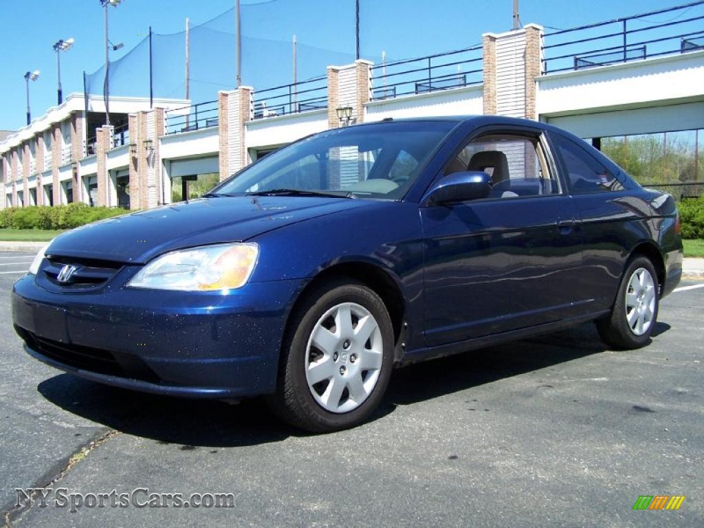 2002 honda civic ex coupe in eternal blue pearl 077853 nysportscars com cars for sale in