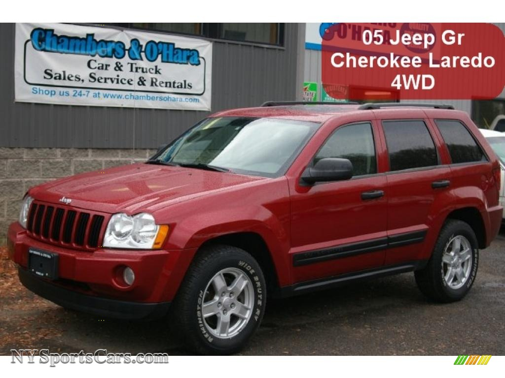 2005 jeep grand cherokee laredo 4x4 in inferno red crystal pearl