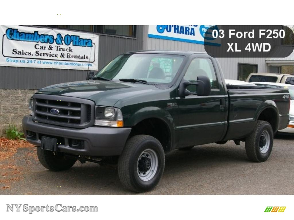 2003 F250 Super Duty XL Regular Cab 4x4 - Dark Highland Green Metallic /  Medium Flint