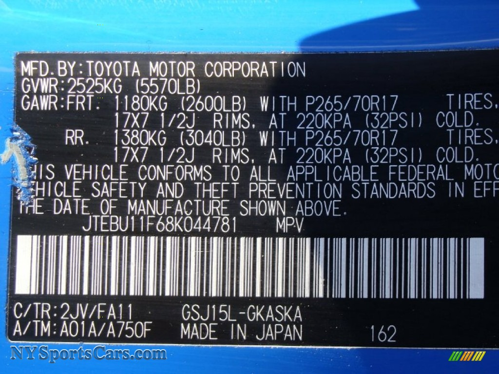 Toyota Fj Cruiser Voodoo Blue Paint Code