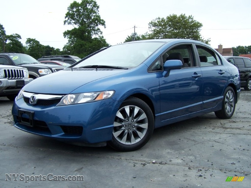 Atomic Blue Metallic Gray Honda Civic Ex Sedan