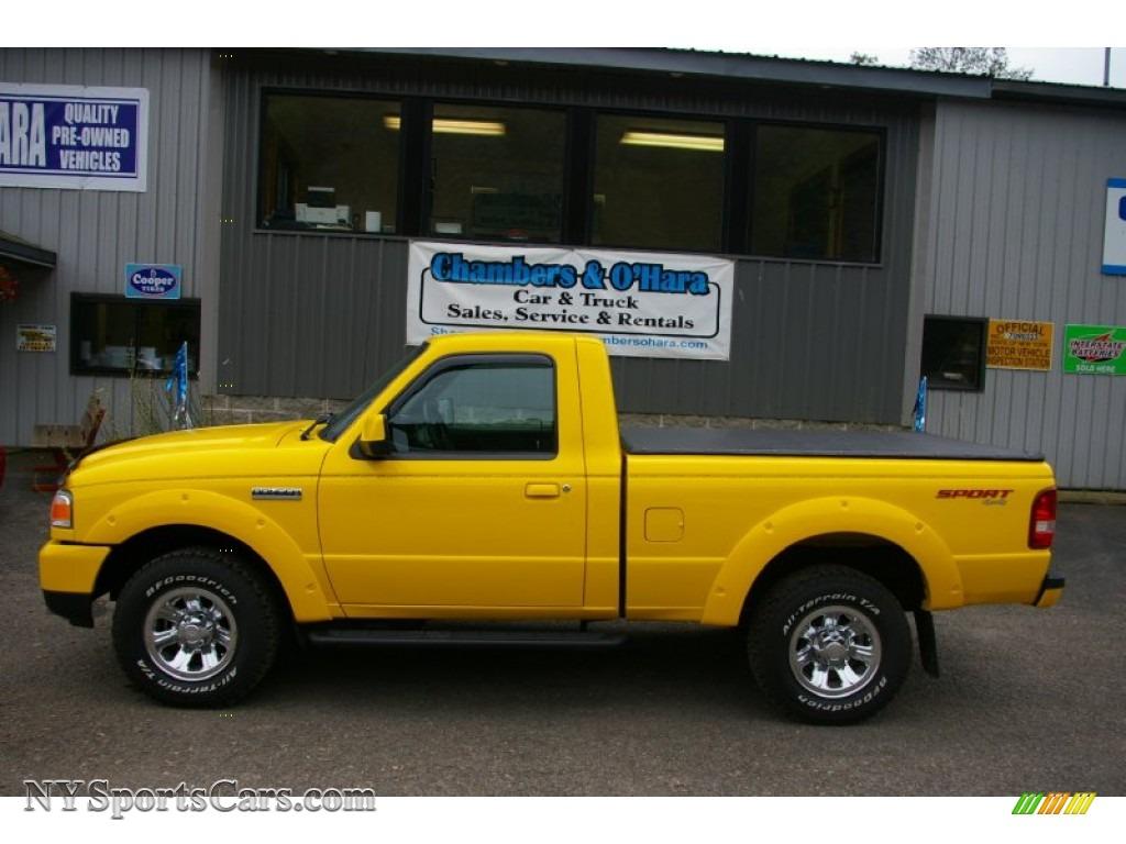 ranger ford yellow 2007 cab sport 4x4 regular screaming dark flint medium nysportscars gtcarlot transmission miles
