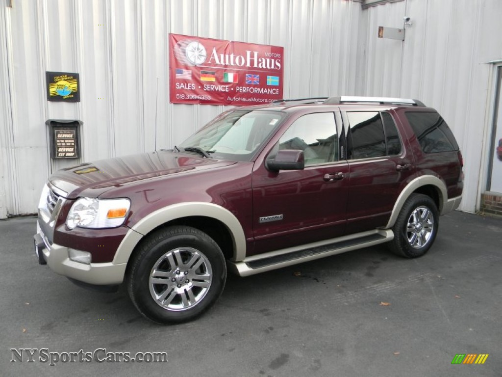 Dark cherry metallic camel ford explorer eddie bauer 4x4