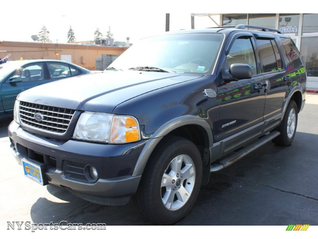 2002 explorer xlt 4x4 deep wedgewood blue metallic graphite photo 1