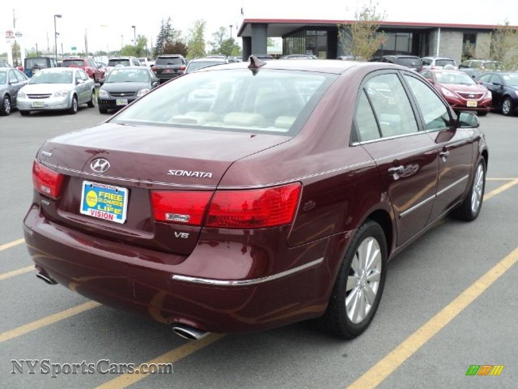 2009 Hyundai Sonata Limited V6 In Dark Cherry Red Photo 2