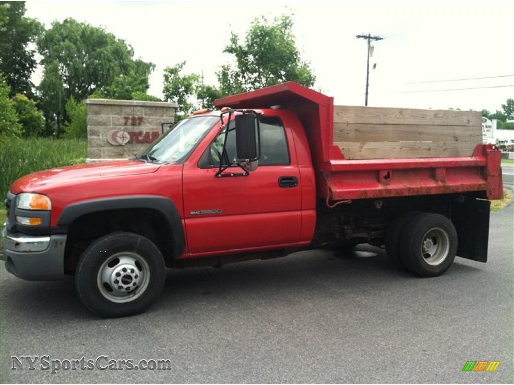 Fire red dark pewter gmc sierra 3500 regular cab dump truck