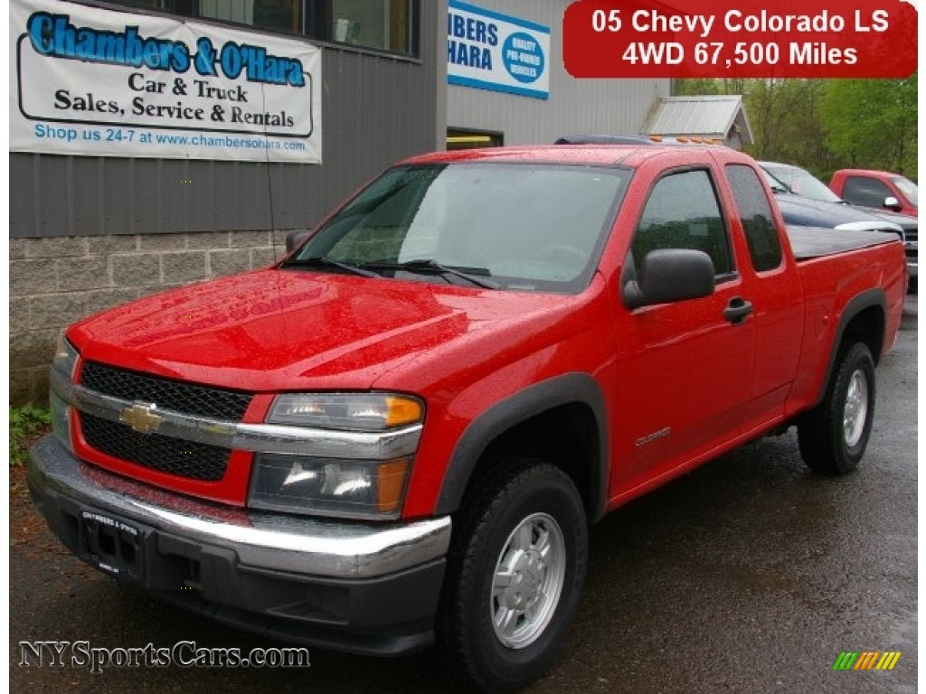 2005 colorado z71 extended cab 4x4 victory red very dark pewter photo 1